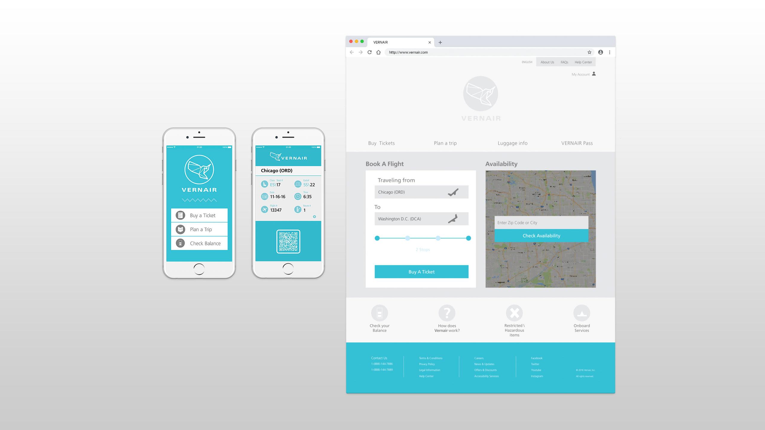 Vernair Airlines Homepage Mobile App Ticket