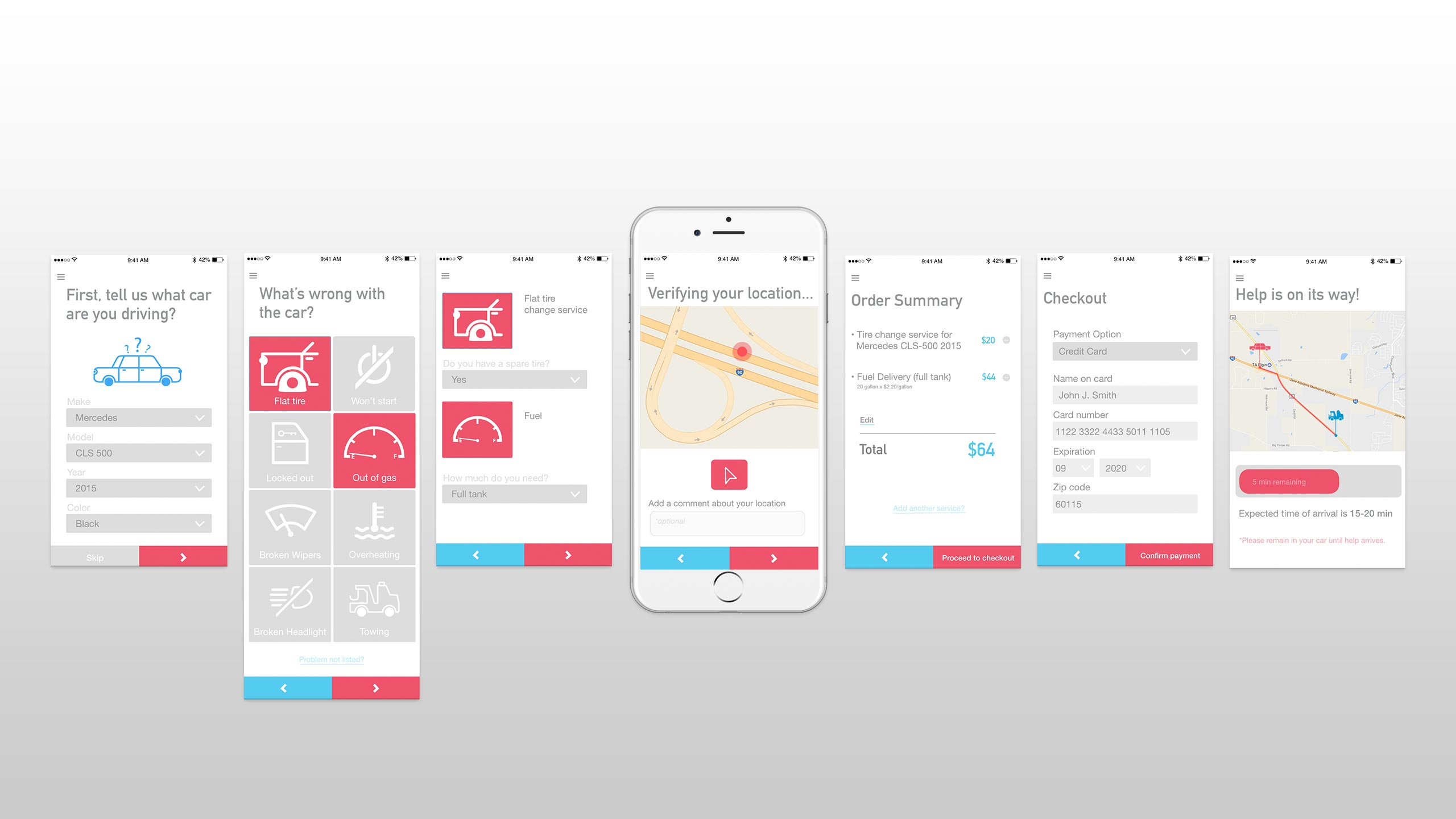 auto repair app prototype mockup
