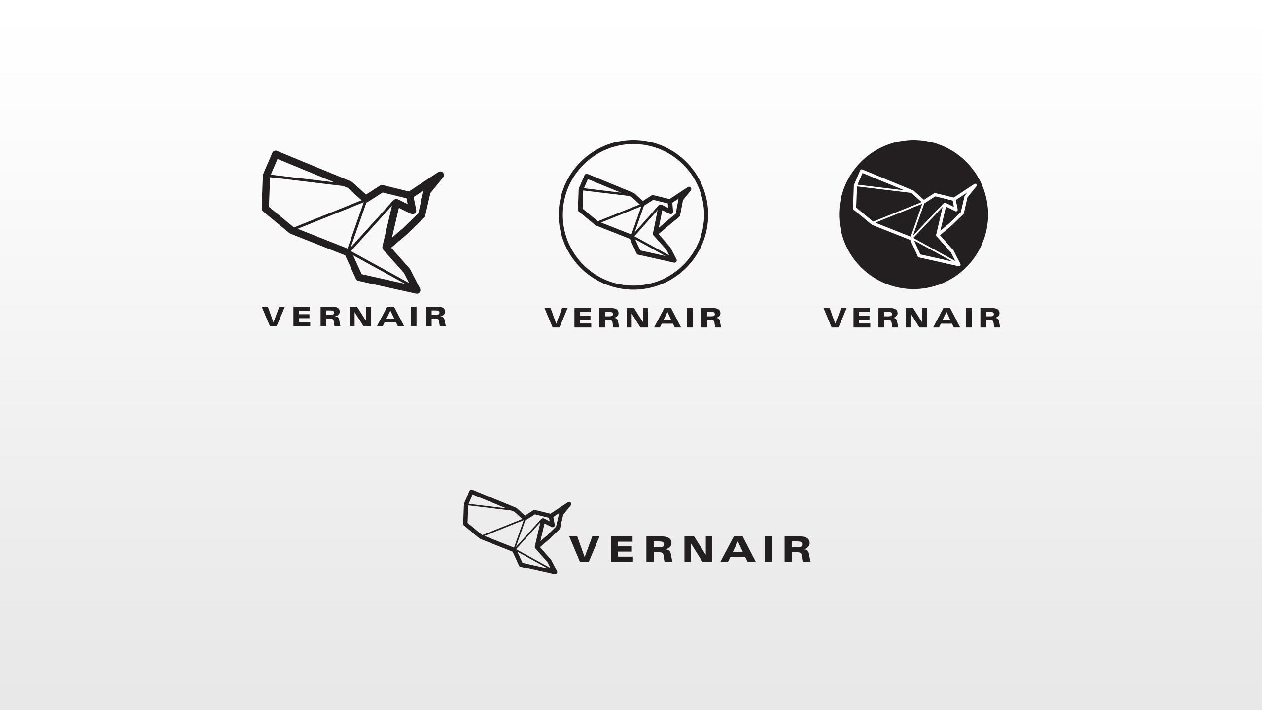 Vernair Airlines logos iterations black