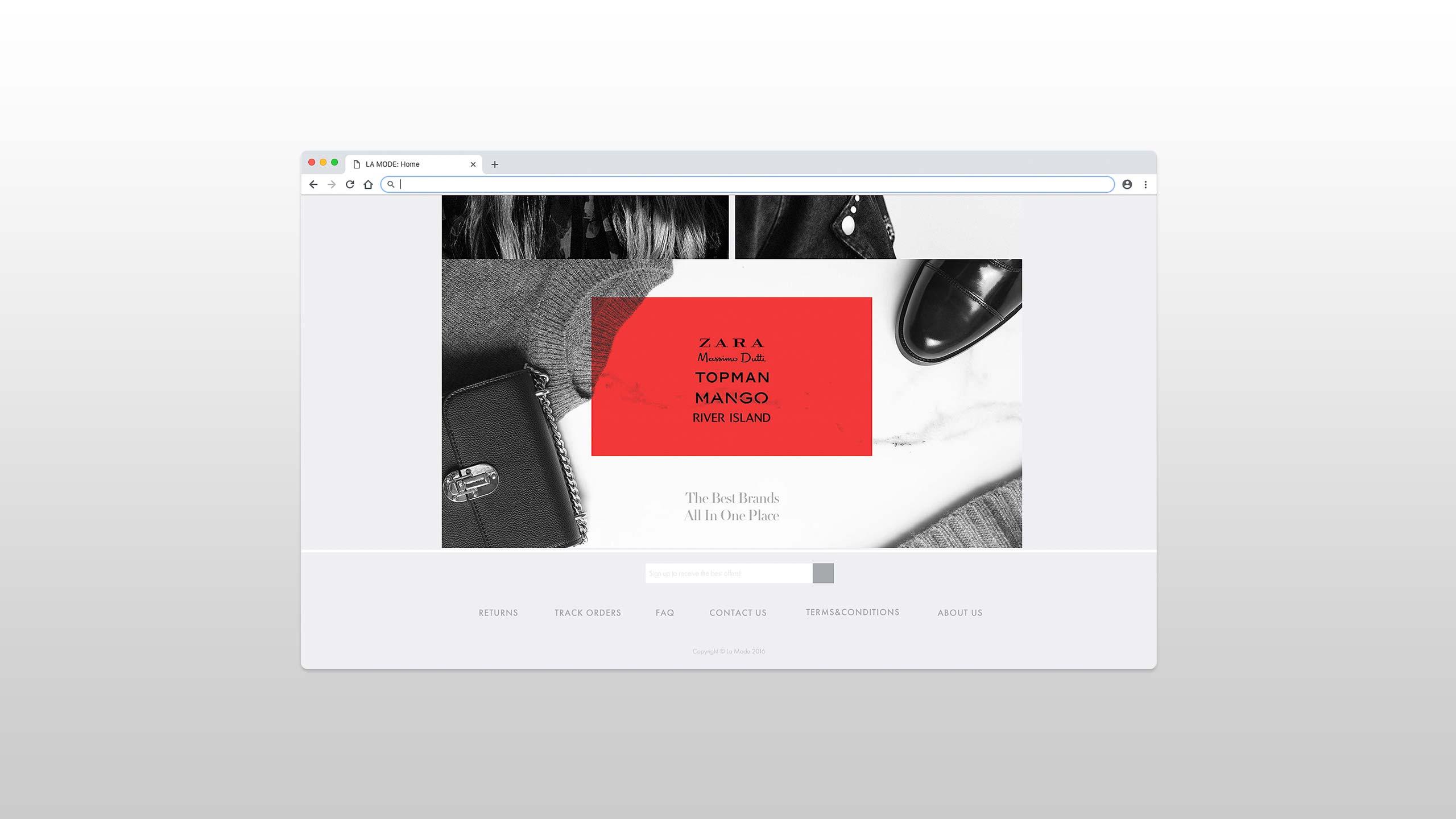 online shopping website footer